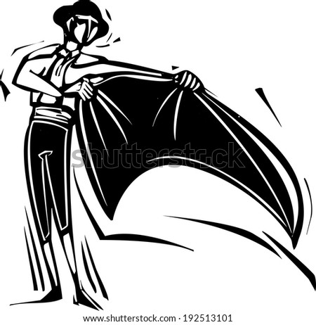 Woodcut style image of a Spanish matador with a cape at a bullfight. - stock vector