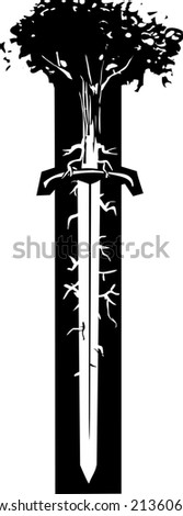 Woodcut style image of a tree with roots like nerve endings growing out of the blade of a sword. - stock vector