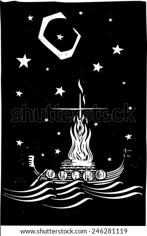 Woodcut style image of a Viking Chief being burned on a longboat at night. - stock vector