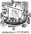 Woodcut style image of a viking longship. - stock vector
