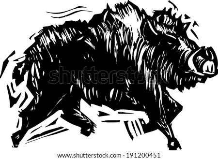 Woodcut style image of a wild boar with tusks. - stock vector