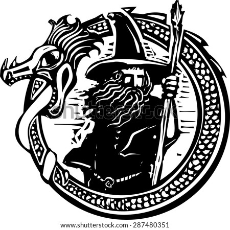 Woodcut style image of a wizard in a an encircling dragon - stock vector