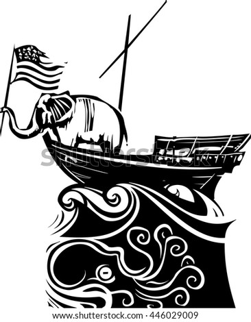Woodcut Style image of an Elephant waving an American flag on a boat lost in a stormy sea. - stock vector