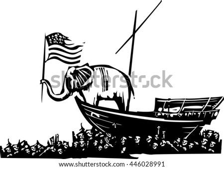 Woodcut Style image of an Elephant waving an American flag on a boat surrounded by a sea of refugees.