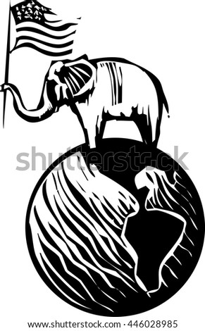 Woodcut Style image of an Elephant waving an American flag on top of the earth - stock vector