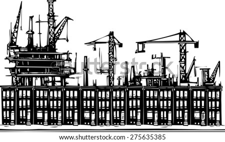 Woodcut style image of an industrial urban ghetto row homes. - stock vector