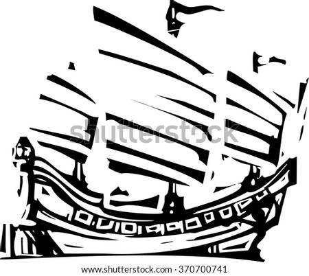 Woodcut style image of chinese sailing ship junk - stock vector