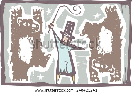 Woodcut style image of dancing circus bears with a ringmaster - stock vector