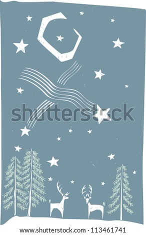 Woodcut style image of deer on a winter's night