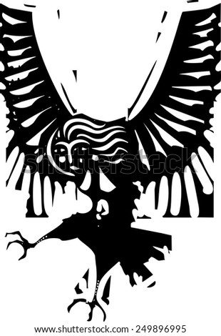 Woodcut style image of Greek mythological harpy woman with wings - stock vector