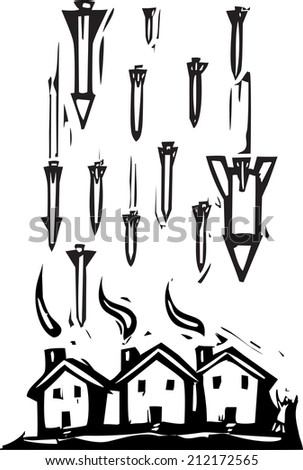 Woodcut style image of missiles falling on houses. - stock vector