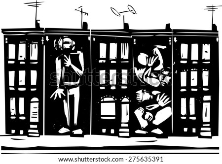 Woodcut style image of people boxed into urban ghetto row homes. - stock vector