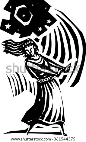 Woodcut style image of the a woman dancing below the moon. - stock vector