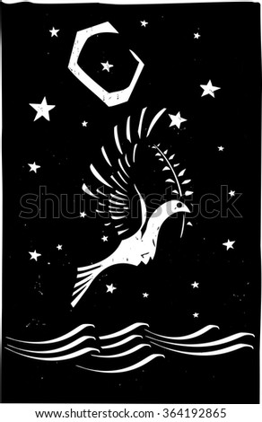 Woodcut style image of the biblical dove returning with an olive branch to Noah - stock vector