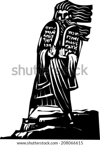 Woodcut style image of the Biblical Moses bringing the ten commandments down from the mountain. - stock vector