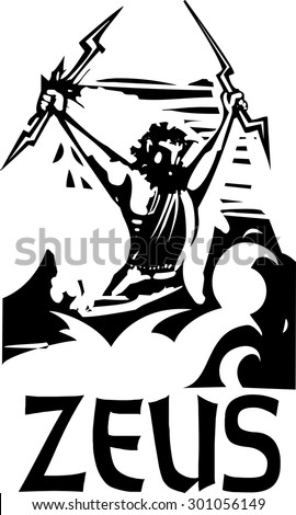 Woodcut style image of the Greek Olympian God Zeus with his name - stock vector