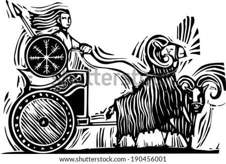Woodcut Style image of the Norse Goddess Frigg or Frigga riding in a chariot pulled by goats. - stock vector