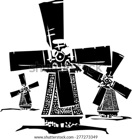 Woodcut style image of three old style dutch windmills. - stock vector