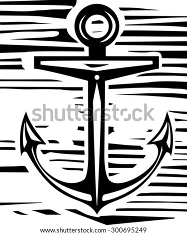 Woodcut style maritime sea anchor in rough background - stock vector