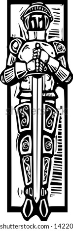 Woodcut style medieval knight like one might see in a cathedral tomb. - stock vector