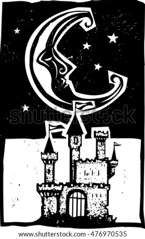 Woodcut style moon and fantasy castle at night