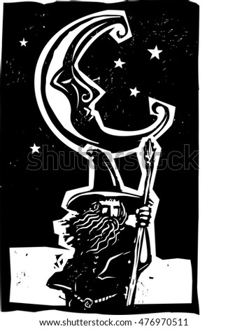 Woodcut style moon and fantasy wizard on quest