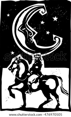 Woodcut style moon and mounted king on a horse