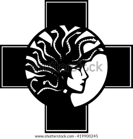 Woodcut style mythical Greek medusa with a Mohawk - stock vector