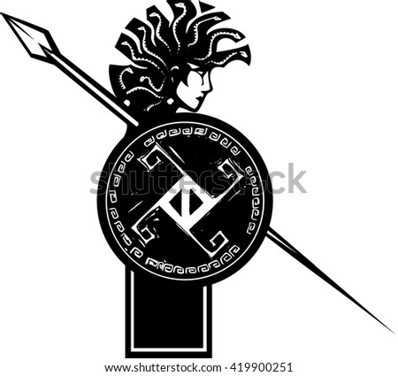Woodcut style mythical Greek medusa with a Mohawk and spear - stock vector