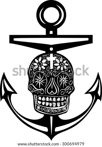 Woodcut style sea anchor with a Mexican Day of the Dead Skull - stock vector