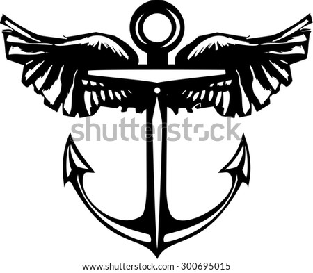 Woodcut style sea anchor with Wings. - stock vector