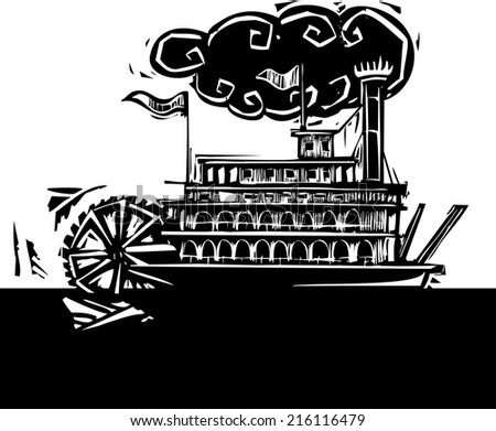 Woodcut style side wheel Mississippi river steamboat on dark water. - stock vector