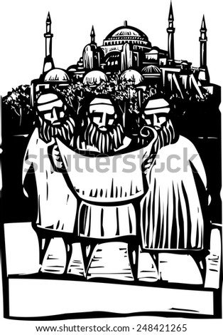 Woodcut style three Muslim architects look over building plans of a mosque. - stock vector