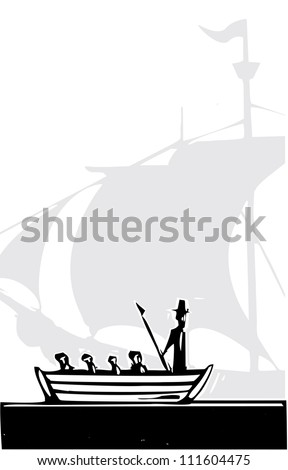 Woodcut style whaling boat and a sailing ship. - stock vector