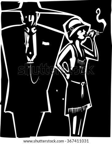 Woodcut syle image of a woman in a flapper dress smoking and a man in a Zoot Suit - stock vector