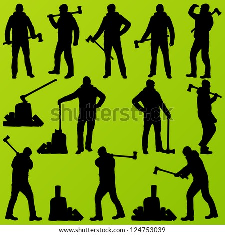 Woodcutter, logger set vector background with man and wood ax - stock vector