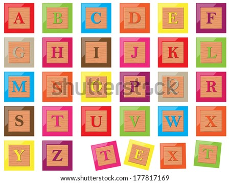 Wooden alphabet blocks - stock vector