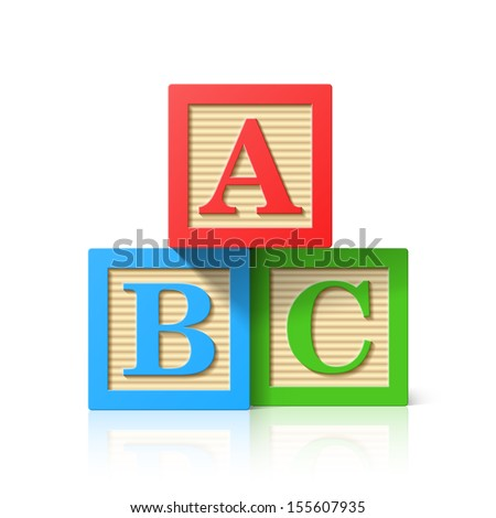 Wooden alphabet cubes with A,B,C letters. Vector. - stock vector