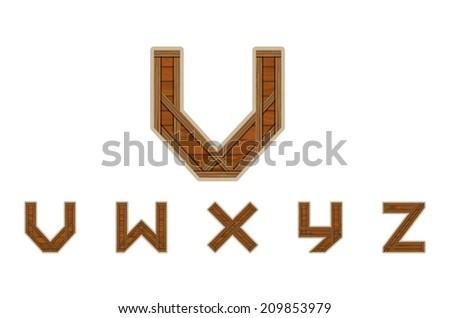 Wooden Alphabet Letters V to Z Vector - stock vector