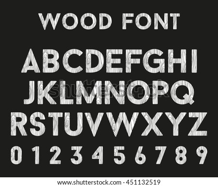 Wooden alphabet with letters and numbers. Vector font in wood style.