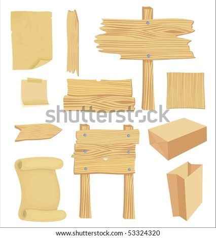 wooden and paper banners - stock vector