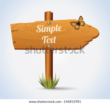 Wooden Arrow Board - stock vector