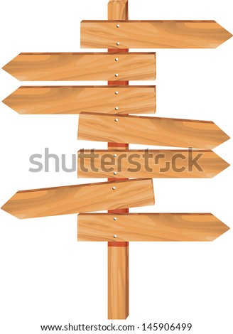 wooden arrow direction sign boards - stock vector