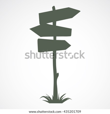 Wooden arrow road sign for showing directions - stock vector