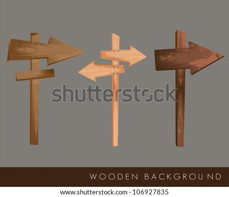 Wooden arrows on gray background, vector illustration