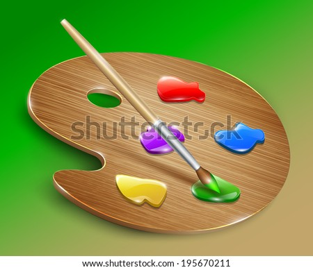 Wooden art palette with paints and brush. Vector - stock vector