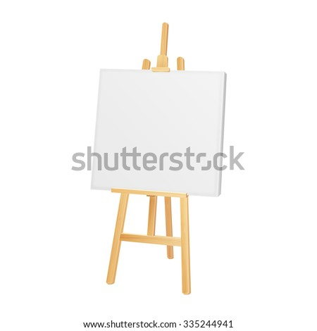 wooden artist easel with blank canvas