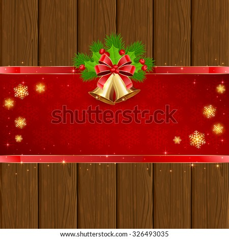 Wooden background with Christmas bells, red bow, holly berries, stars and snowflakes, illustration. - stock vector