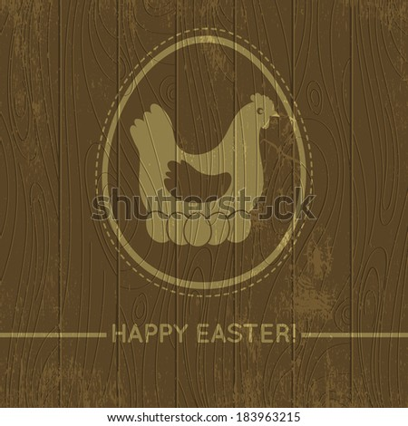 wooden background with easter eggs and hen, vector illustration - stock vector