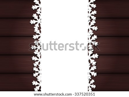 Wooden background with empty frame and snowflakes for Christmas - stock vector